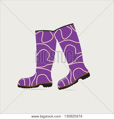 fashion rubber boots on a light background