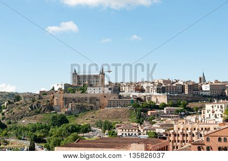 Alcázar of Toledo Spain in Europe from park