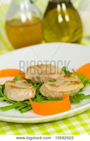 fresh roasted pork fillet - tenderloin with vegetables