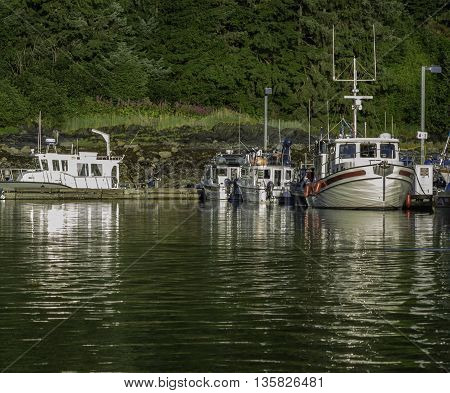 Juneau, Alaska USA - July 27, 2012.  Small Boats Docked Outside Juneau, Alaska In The Late Afternoon