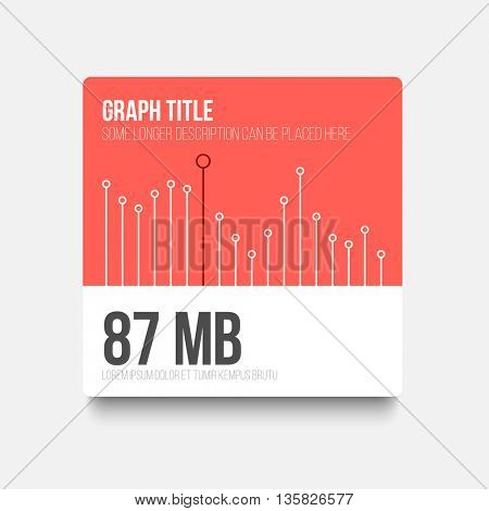 Vector flat user interface (UI) infographic template with simple minimalistic graph - red version