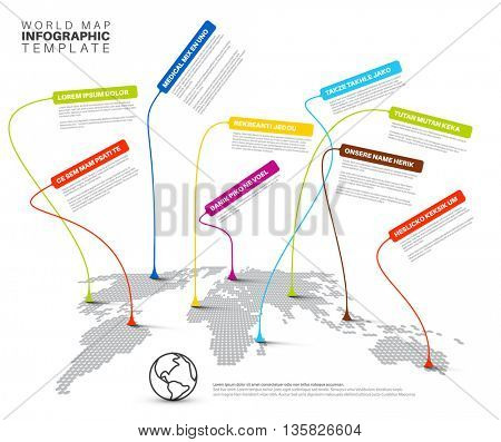 World map infographics template: Light dotted World map with linked pointers on long strings - world appearance infographic