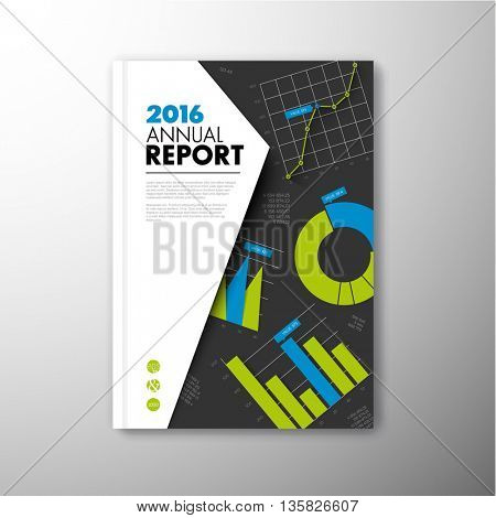 Modern Vector annual brochure, report or flyer design template with infographic graphs and charts - blue and green version