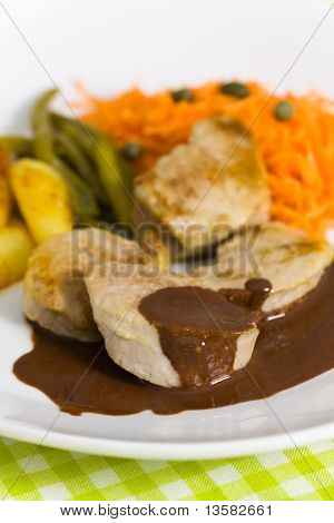 roasted pork fillet - tenderloin with vegetables