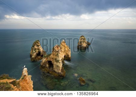 View of the sea and rocks in Portimão Algarve Portugal
