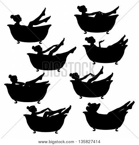 Vector silhouette of girls in the bath.
