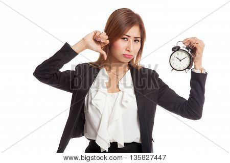 Young Asian Business Woman Thumbs Down With A Clock