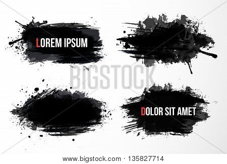 Set of four big black grunge spots with place for your text. Vector illustration.