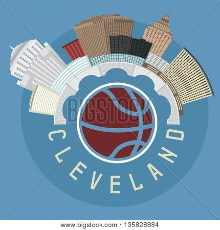 Cleveland Ohio Usa Flat Design Vector Illustration With Basketball Theme