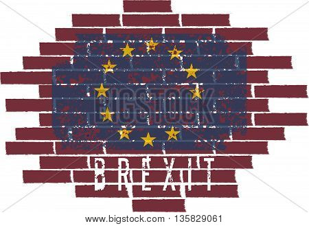 Brexit Concept Vector Illustration With Eu Flag On The Brick Wall