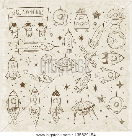 Collection of sketchy space objects on vintage background. Space ships, space shuttle, flying saucers, astronauts etc.
