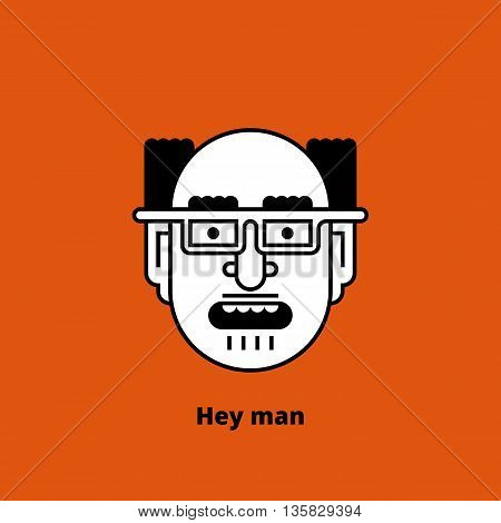Cartoon character - mad bald man. Retro design of avatar, t-shirt print, or logo. Thin lines. Stock vector illustration.