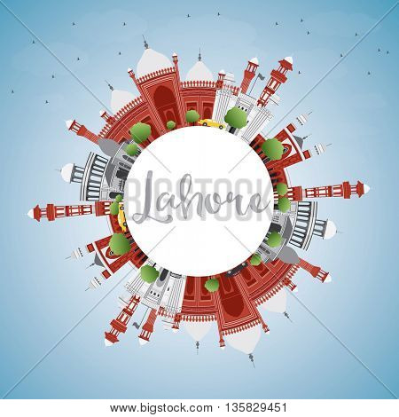 Lahore Skyline with Color Landmarks, Blue Sky and Copy Space. Vector Illustration. Business Travel and Tourism Concept with Historic Buildings. Image for Presentation Banner Placard and Web.