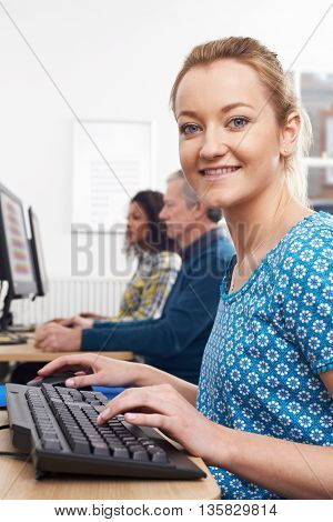 Portrait Of Young Woman Attending Computer Class