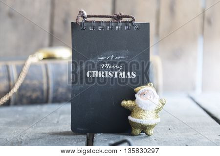 Merry Christmas - inscription on the label and santa.