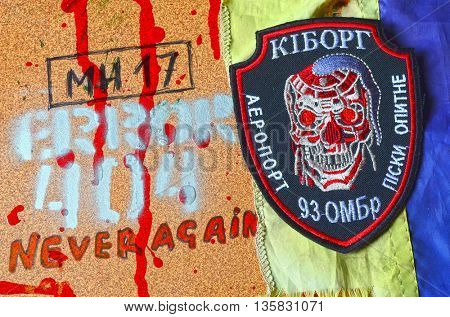 ILLUSTRATIVE EDITORIAL.Chevron of Ukrainian army.Civil War in Ukraine.June 13,2016 in Kiev, Ukraine