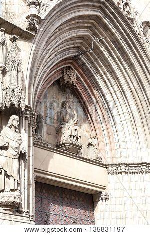 Facade of Catalan Gothic church Santa Maria del Mar Barcelona Spain.