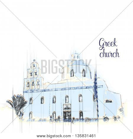 Ancient traditional Orthodox church. Sketch vector illustration.