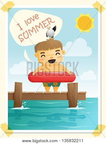 Enjoy tropical summer holiday with little boy , vector, illustration