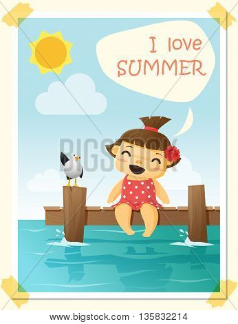 Enjoy tropical summer holiday with little girl , vector, illustration