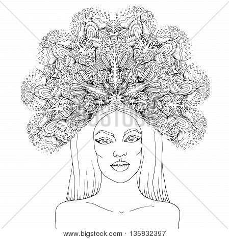 Vector hand drawn portrait of the mysterious nymph girl with a crown of flower ornament. Goddess of summer flowers. Coloring book page. Isolated on white background