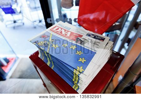 STRASBOURG FRANCE - JUN 24 2016: French magazine newspaper DNA derniere nouvelles d alsace from Alsace writing about the BREXIT referendum in United Kingdom which has decided the country wishes to quit the European Union