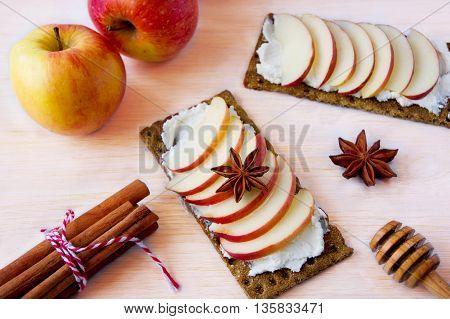 Bruschetta with cream cheese apples and honey