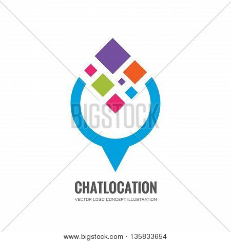 Chat location - vector logo concept illustration. communication technology sign. Social media symbol. Abstract colored shapes. Design element.