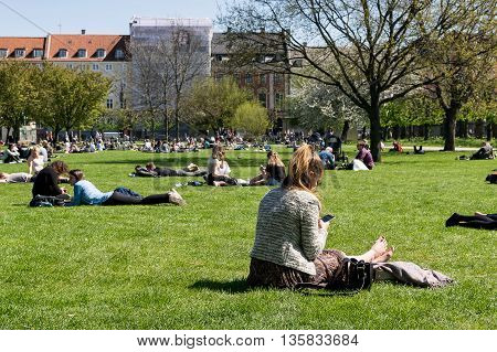 Young woman barefeet enjoying a sunny day in the park, sitting on the grass and looking at her phone