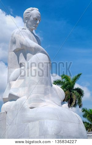 HAVANA,CUBA - JUNE 22,2016 : The Jose Marti memorial monument at the Revolution Square in Havana with palm trees on the background