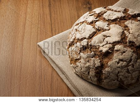 Close up Rye Bread on canvas napkin