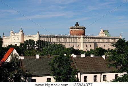Lublin Poland - June 5 2010: The immense neo-gothic castle begun in 1824 incorporates parts of the original 14th century royal fortress