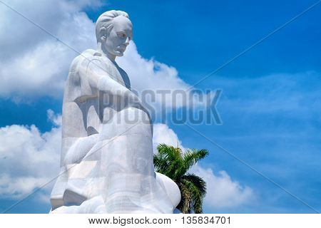 HAVANA,CUBA - JUNE 22,2016 : The Jose Marti memorial monument at the Revolution Square in Havana with a blue sky background