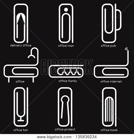 Simple Vector Concept Web Icons On Office Theme With Different Form Of Paper Clips