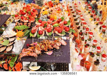 Assortment Festive Appetizers On The Plate, Selective Focus. Festive Buffet