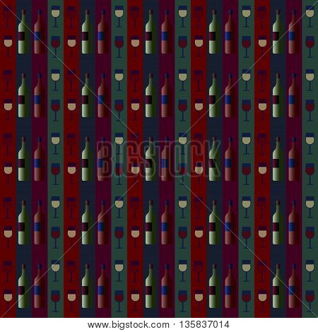 seamless pattern with bottles of wine and glasses on a striped background