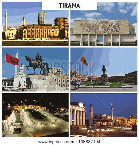 Pictures of different places and landscapes in Tirana