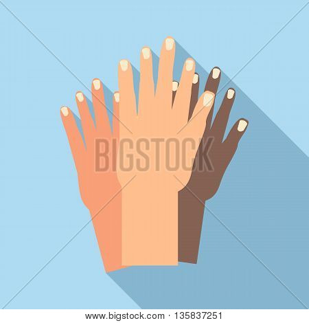 Hands of people of different nationalities icon in flat style with long shadow. Friendship of peoples symbol