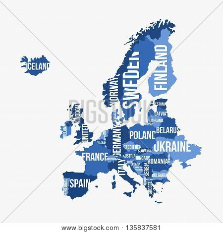 Vector detailed map of Europe with borders and country names
