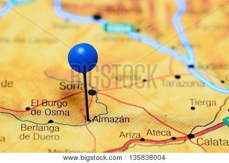Almazan pinned on a map of Spain