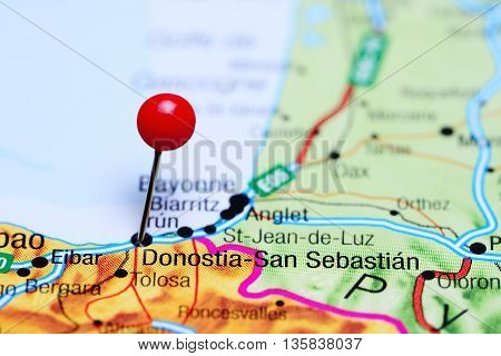 Donostia-San Sebastian pinned on a map of Spain
