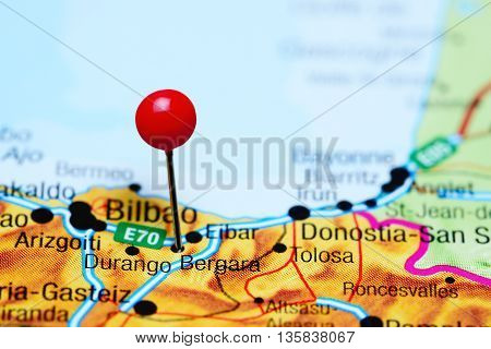 Bergara pinned on a map of Spain