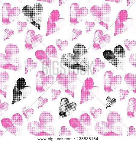 Pink and black pattern made from many round dots. Seamless heart background in pink black and white colors