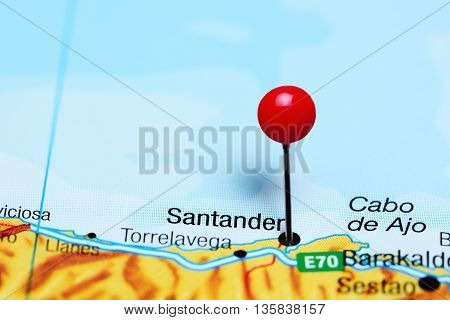 Santander pinned on a map of Spain