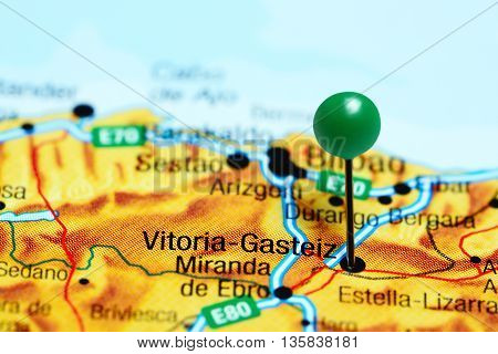 Vitoria-Gasteiz pinned on a map of Spain