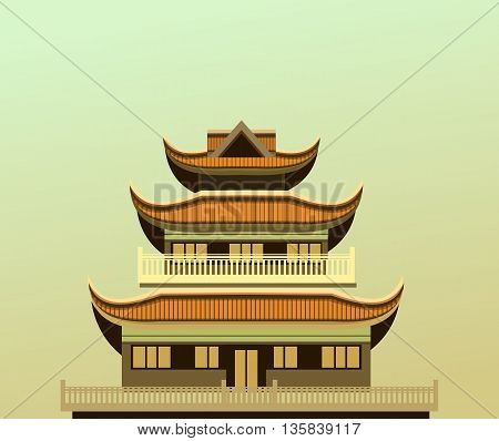 vector illustration of an old Buddhist temple light green background