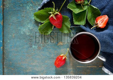 Tradition Summer Juice Drink With Strawberries And Mint With Copy Space On A Vintage Wooden Backgrou