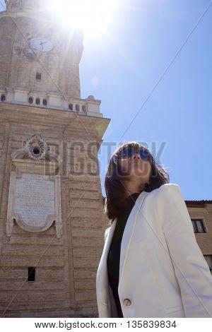woman sightseeing La Seo in Zaragoza Spain
