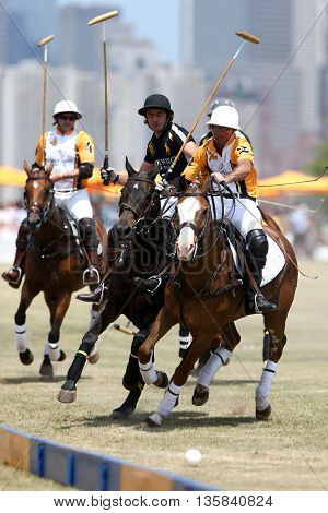 JERSEY CITY, NJ-MAY 30: (L-R) Gonzalo Garcia Del Rio, Javier Tanoira and Marcos Garcia Del Rio at the Veuve Clicquot Polo Classic at Liberty State Park on May 30, 2015 in Jersey City, NJ.
