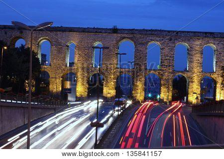 Old Roman Bozdogan aqueduct in istanbul, turkey
